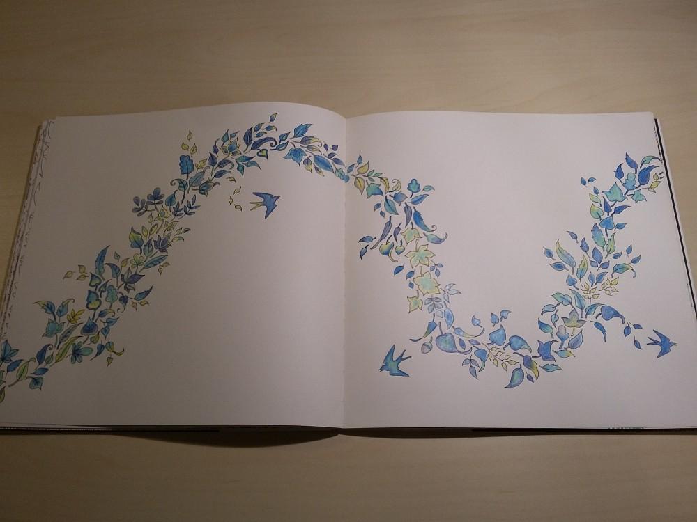 Ausmalbuch bemalte Seite Vögel und Blumen