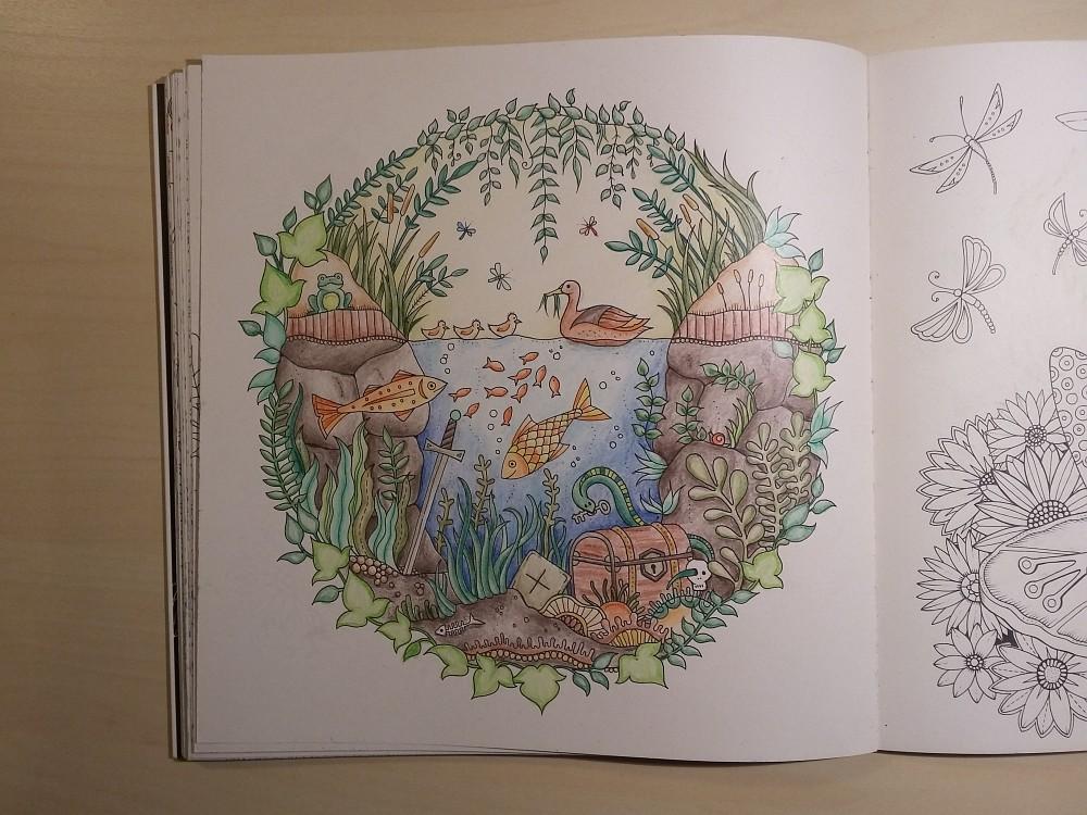 Ausmalbuch bemalte Seite Teich