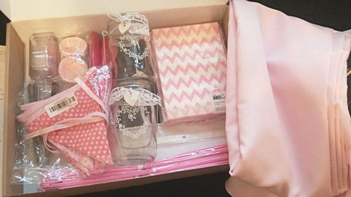 Candybar Zubehör und Dekoration in rosa