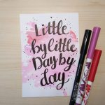 "Aquarellkarte mit Handlettering ""Little by little"""