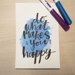 "Aquarellkarte mit Handlettering ""Do what makes you happy"""
